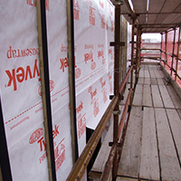 Using Tyvek Firecurb house wrap to protect your project or building from a fire