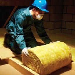 Installing mineral wool loft roll