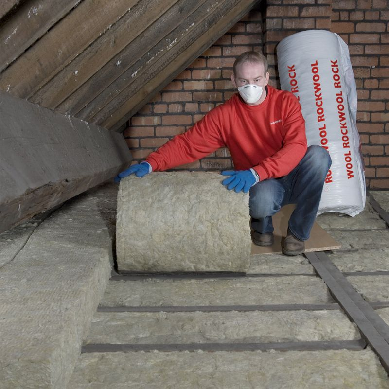 Rockwool rollbatt loft insulation mineral wool 100mm 5 for Rockwool insulation board